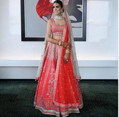 Stunning Anita Dongre Lehengas Spotted On Real Brides Pink Bridal Lehenga, Latest Bridal Lehenga, Pink Lehenga, Mehendi Outfits, Indian Bridal Outfits, Lehenga Color Combinations, Lehenga Dupatta, Lehnga Dress, Churidar