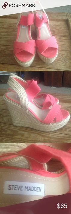 Steve Madden Coral Wedges Steve Madden coral wedges. Worn once and are in excellent condition. No visible wear except for bottom of shoes. Steve Madden Shoes Wedges