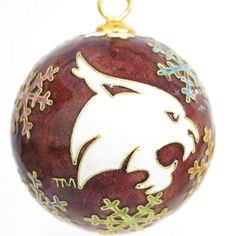 Officially licensed Texas State University, handcrafted, 24k gold plated cloisonne ornament - www.KittyKeller.com