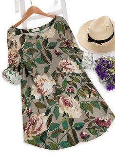 Vestidos Informal Floral Acima do Joelho de Poliéster Manga comprida (1160751) @