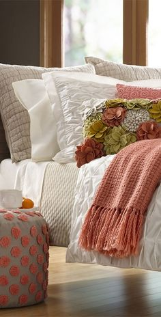 Shop bed and bath at Buyer Select. Our curated selection includes beautiful duvet covers, designer, and luxury bedding sets as well as sumptuous linens. Bed Sets, Home Bedroom, Bedroom Decor, Coral Bedroom, Bedroom Colors, Master Bedroom, Bedroom Ideas, Design Bedroom, Peach Bedroom