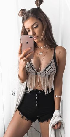 #spring #outfits What's Festival Season Without A Bodychain? ✨ Fringe Bralette Body Chain + Black Denim Short