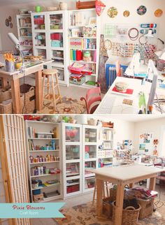 white walls and furniture reflect the natural light beautifully in this organized craft room