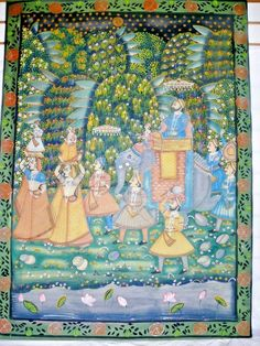 "Antique Indian Pichwai Painting on Fabric Cloth 46"" Mughal India Elephant Maiden #FolkArt"