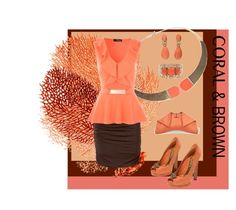"""""""Coral & Brown"""" by lavalu-1 ❤ liked on Polyvore featuring Jane Norman, Alexander McQueen, Bulgari, coral and brown"""
