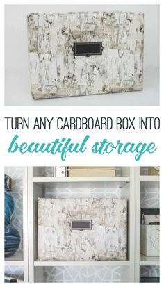 Turn any cardboard box into beautiful storage. Such an easy way to repurpose a diaper box or other cardboard box. Cheap Cardboard Boxes, Cardboard Box Storage, Cardboard Box Crafts, Diy Storage Boxes, Craft Storage, Cardboard Playhouse, Cardboard Toys, Cheap Storage, Cardboard Furniture