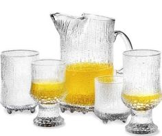 Ultima Thule Glassware By Tapio Wirkkala For Iittala. Developed in the pattern is created when the molten glass burns into the surface of the wooden moulds. Finland Food, Classic Glasses, Short Glass, Mirror Mosaic, Clean Dishwasher, Marimekko, Helsinki, Scandinavian Design, Glass Vase