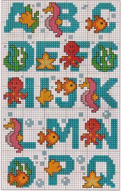 Cantinho da Thaii : Alfabetos & Monogramas Cross Stitch Sea, Cross Stitch Fruit, Cross Stitch For Kids, Cross Stitch Charts, Cross Stitch Alphabet Patterns, Cross Stitch Letters, Modern Cross Stitch Patterns, Crochet Alphabet, Cross Stitching
