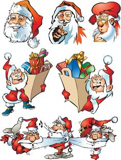 #Santa Claus cartoon illustrations #vector