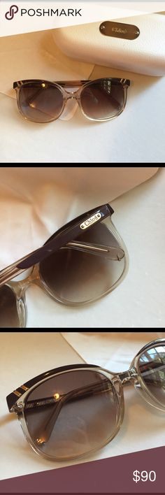 Chloe Sunglasses Clear frame with brown rim and brown tinted lenses. Excellent condition. Includes original case and lens cloth. Chloe Accessories Sunglasses