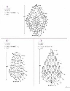 from Asahi original lacework pineapple pattern Crochet Jewelry Patterns, Crochet Motif Patterns, Granny Square Crochet Pattern, Crochet Diagram, Freeform Crochet, Crochet Chart, Thread Crochet, Crochet Accessories, Crochet Designs