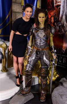 """Paula Patton reveals a stunning figure of her """"Warcraft"""" movie character Garona at sneek peek of the new Warcraft experience at Madame Tussaud's London on May 27, 2016."""