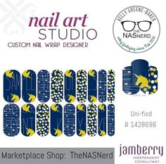 Click for the insta-link to The NAS Nerd's Marketplace Designer Studio! Express your style w/ custom nail wraps!  • Don't have a personal consultant of your own? New to the Jamberry Universe? Message me on my Facebook Fan Page w/ design requests or an invite to join my VIP customer group! www.facebook.com/KellyGBTheNASNerd/  • nail art cosplay diy manicure pedicure lacquer gel kgbnas unified unicorn blue navy gold confetti lines stripes white marathon running boston magic fantasy