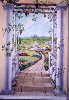 Storied Walls - Trompe L& Murals Gallery Door Murals, Mural Wall Art, Mural Painting, Landscape Art, Landscape Paintings, Castle Backdrop, Photography Studio Background, Tuscan Decorating, Floral Wall