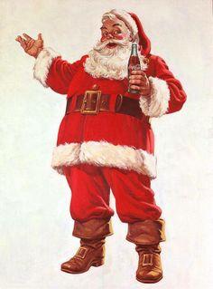 vintage Santa Claus illustration by Coca Cola Coca Cola Christmas, Noel Christmas, Father Christmas, Vintage Christmas Cards, Retro Christmas, Vintage Holiday, Christmas Pictures, Santa Pictures, Christmas Mantles