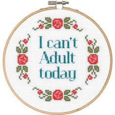 """Dimensions Say It! Can't Adult Counted Cross Stitch Kit-6"""" Round 14 Count"""