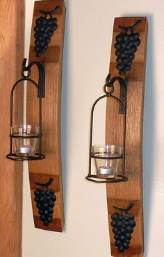 Wine Barrel Stave Wall Sconce with Basket and Grapes. $55.00, via Etsy. #Barrel art
