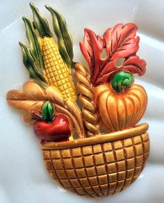 TARA Fall Harvest Basket Brooch  Thanksgiving by junquegrl on Etsy