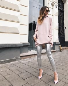 """Beautiful girl wearing WeAnnaBe hooded sweatshirt dress and silver metallic leggings. Check out our chic style ideas! Click """"Visit"""" to buy it now. ----- Fall outfits, fall fashion 2017, fashion 2017 fall, outfit ideas, outfits fall, style fashion, style inspiration, women's fashion, women's fall fashion, women's fashion casual, hooded dress outfit."""