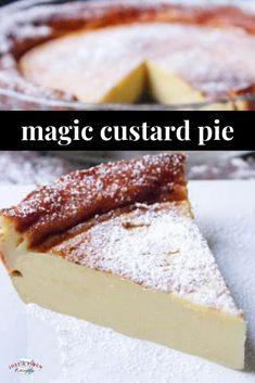 Crust Custard Pie Magic Crust Custard Pie is a ridiculously easy dessert recipe that is made in a blender! *recipe and video*Magic Crust Custard Pie is a ridiculously easy dessert recipe that is made in a blender! *recipe and video* Custard Pies, Custard Desserts, Custard Recipes, Köstliche Desserts, Cheesecake Recipes, Easy Custard Recipe, Magic Custard Cake, Coconut Custard, Light Desserts