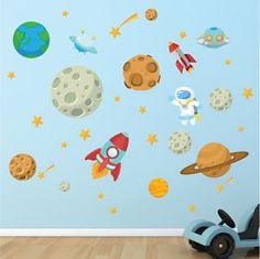 Space Astronaut Stars Planets Nursery Kids Bedroom Vinyl Wall Stickers Decals | eBay