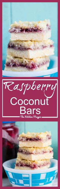 Raspberry Coconut Bars - The Kitchen Magpie