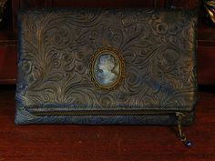 Victorian Cameo Fold-Over Clutch Bag-- Courtyard Companion Victorian Steampunk, Gothic, Everyday Carry, Brass Metal, Leather Interior, Steampunk Fashion, Brass Hardware, Leather Bags, Evening Bags