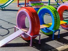 Kids diy playground Recycled Playground Made from Old Tires Kids Outdoor Play, Kids Play Area, Backyard For Kids, Diy For Kids, Dog Backyard, Outdoor Toys, Outdoor Play Areas, Indoor Play, Diy Playground