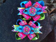 Peace Multi Bottlecap Piggy Set Hairbows on Etsy, $8.99