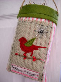 Holiday Burlap and Ticking Fabric Gift Bag by MelonyBradley, $15.00