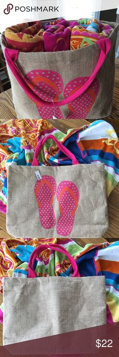 "🏝Oversized Jute Beach Tote - You NEED This! 🏖 Jute exterior with plastic-lined interior  Darling pink and orange flip flop design on front  Comfortably holds 3 extra large beach towels with plenty of storage left for beach essentials   One interior sewn in zippered pocket and an attached lined extra pocket so valuables are within easy reach  21"" W X 15.5"" H X 4.5"" D  Attached extra pocket measures about 5"" X 5""  8"" strap drop Bags Totes"