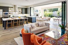 Mid Century Modern Living Room, Enlivening Your Home with New Distinctive Interior Style Open Plan Kitchen Living Room, Open Plan Living, Narrow Kitchen, Condo Kitchen, 1970s Kitchen, Apartment Kitchen, Open Kitchen, Kitchen Island, Style At Home