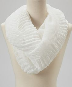 Loving this White Crinkle Lace Silk-Blend Infinity Scarf on #zulily! #zulilyfinds
