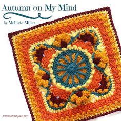 Autumn on My Mind Block Free Crochet Pattern - Knitting Bordado Crochet Motifs, Crochet Blocks, Granny Square Crochet Pattern, Crochet Squares, Crochet Blanket Patterns, Granny Squares, Crochet Granny, Crochet Blankets, Crochet Doilies