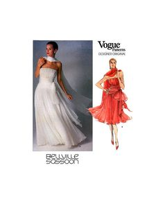 Vogue Designer Original 2386 Bellville Sassoon Fitted, Flared Strapless Evening Dress in Two Lengths & Stole Sewing Pattern Size Brides And Bridesmaids, 1990s, All Things, Bodice, Evening Dresses, Sewing Patterns, Size 10, Vogue, The Originals