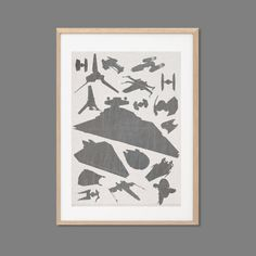 Star Wars Ships & Starfighters  Galore Poster : Modern Illustration Retro Art Wall Decor Print A3 11 x 16