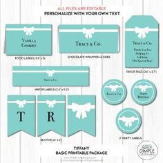 INSTANT DOWNLOAD Tiffany and Co Party Decorations for a Tiffany and Co Birthday / Baby Shower / Bridal Shower - Printable, add your own text by Little Dimple Designs