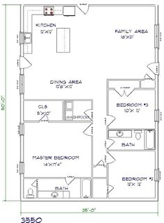 barndominium floor plan 3 bedroom 2 bathroom 35x50