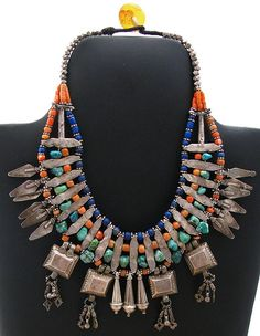 Nepal | Old silver necklace with coral, turquoise and lapis beads