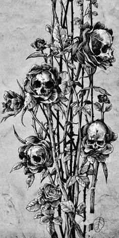 61 Ideas For Dark Art Skull Beautiful Arm Tattoos, Rose Tattoos, Tattoo Arm, Yakuza Tattoo, Skull Roses Tattoo, Tattoo Drawings, Art Drawings, Desenhos Halloween, Tattoo Caveira