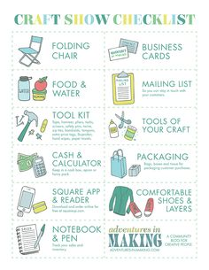 craft show booth checklist | Free Printable Craft Show Checklist by Adventures In Making http://www ...