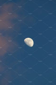 Moon on blue sky. by Wonderful World on @creativemarket