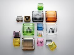 are perfect storage boxes - a modern classic in these yummy colors!Littala Vitriini Glass Boxes available at huset- Acrylic Containers, Glass Containers, Bottle Design, Glass Design, Contemporary Storage Boxes, Inside A House, Glass Boxes, Pill Boxes, Happy Colors