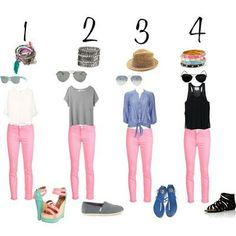 Ideas how to wear pink jeans casual Pink Jeans Outfit, Jeans Outfit Summer, Pink Outfits, Summer Outfits, Cute Outfits, Pink Trousers, Jeans Pants, Light Pink Pants, Capri Outfits