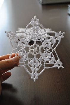 The price is for ONE SNOWFLAKE. This wonderful handmade crochet lace snowflakes . - - The price is for ONE SNOWFLAKE. This wonderful handmade crochet lace snowflakes measures approximately or 5 inch. Made with White high qualit. Crochet Snowflake Pattern, Crochet Motifs, Crochet Snowflakes, Crochet Patterns, Crochet Christmas Ornaments, Handmade Ornaments, Christmas Knitting, Christmas Decorations, Christmas Tree