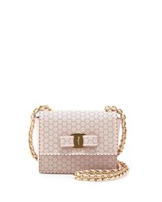 Ginny Perforated Bow Crossbody Bag, Macaron by Salvatore Ferragamo at Neiman Marcus.