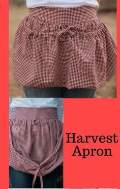 Looking for a pattern for this specific harvest apron Easy Sewing Projects, Sewing Hacks, Sewing Crafts, Sewing Ideas, Sewing Aprons, Sewing Clothes, Vintage Sewing, Vintage Diy, Vintage Apron