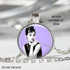 Audrey Hepburn Necklace, Movie Star, Hollywood, Art Pendant chain included X77
