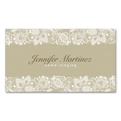 Elegant Beige and White Vintage Floral Lace Business Card. Make your own business card with this great design. All you need is to add your info to this template. Click the image to try it out!