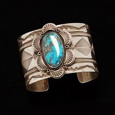 Tommy Jackson Kingman Turquoise Cabachon Cuff Bracelet -  National Cowboy Museum